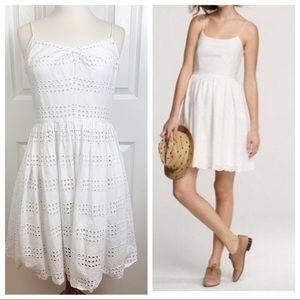 J CREW 4 Eyelet White Summer Romantic Summer Dress